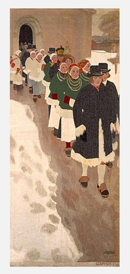 "Anders Zorn | Licium, Stockholm - Tessuto ""Corteo nuziale"" | Våvnad ""Bröllopståg"" | Fabric ""Wedding procession"", 1909"