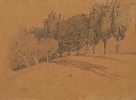 Giuseppe Abbati, Via di campagna con cipressi, 1862, matita su carta bruna, cm. 18,7 x 25, collezione privata