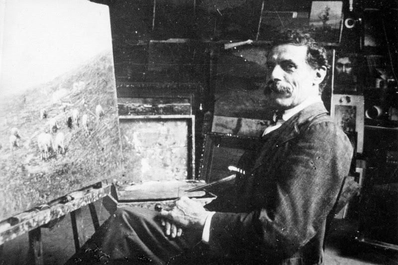 Achille Tominetti nel suo studio