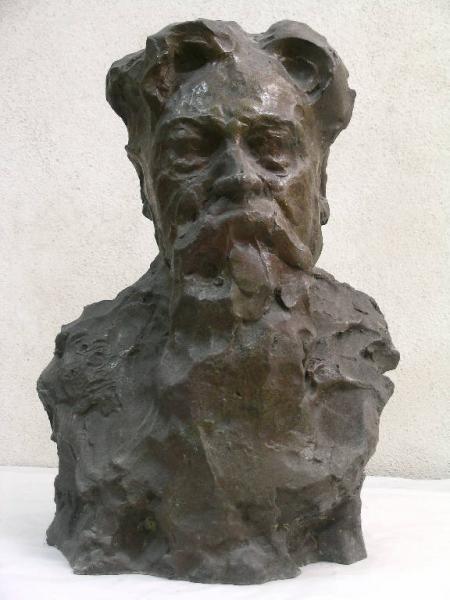 Ernesto Bazzaro (1859-1937), Ritratto del pittore Leonardo Bazzaro, post 1926, scultura, bronzo, cm. 36 x 33 x 52,5, Galleria d'Arte Moderna, Milano, Italia