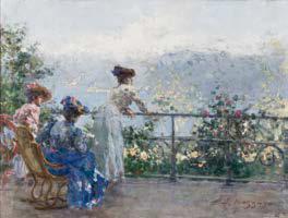Leonardo Bazzaro, Sul terrazzo all'Alpino, 1900-1905, olio su tela, cm. 45 x 60, Firenze, collezione privata