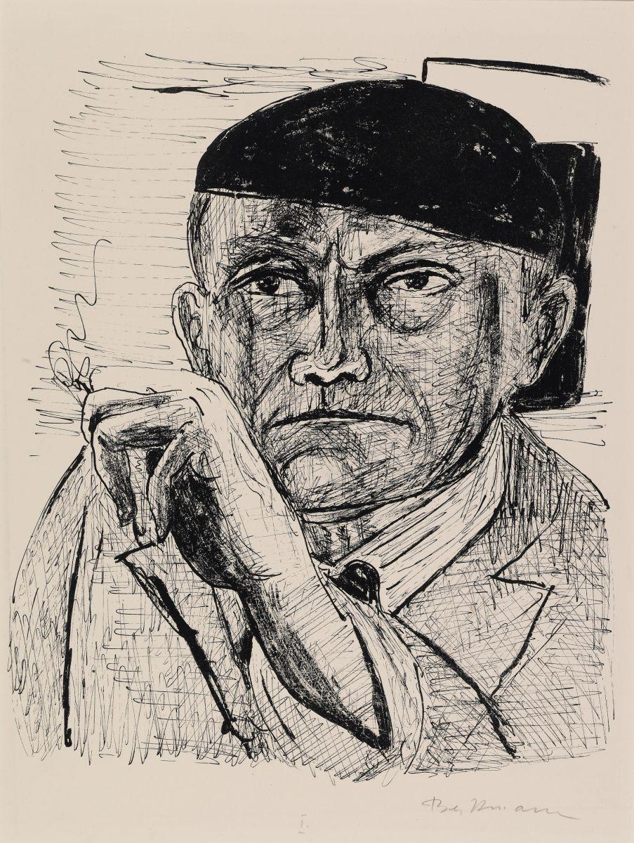 Max Beckmann, Autoritratto / Self-portrait, 1946, Litografia, cm. 40,16 x 29,84 (foglio), Albright-Knox Art Museum, inv. n. P1949:2, dono di A. Conger Goodyear