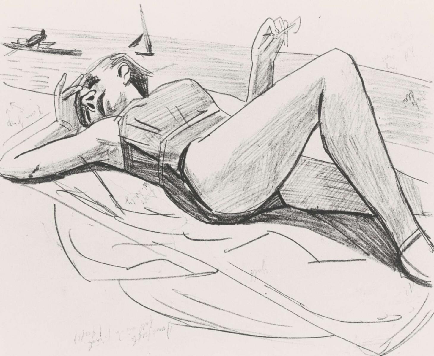 Max Beckmann, Schlafende am Strand, 1927, Disegno a matita su carta, Museum der Bildenden Künste, Leipzig, Nachlass Mathilde Beckmann