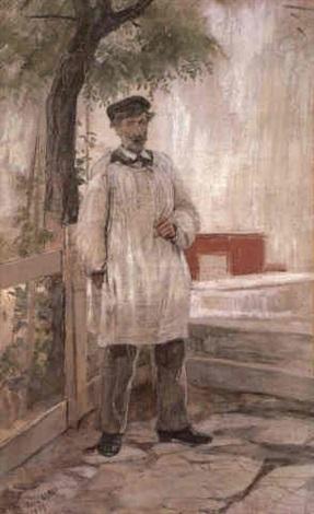 Dora Hitz (German, 1856–1924), Der Maler Edmond Aman-Jean im Malerkittel  | Il pittore Edmond Aman-Jean in camice, 1889, Olio su cartone, 57 x 36 cm., Coll. priv.