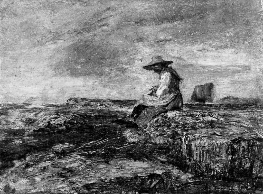 Antonio Fontanesi, Pastorella solitaria, 1861-1863, olio su tela su cartone, cm. 27,4 x 37,5, inv. P/751