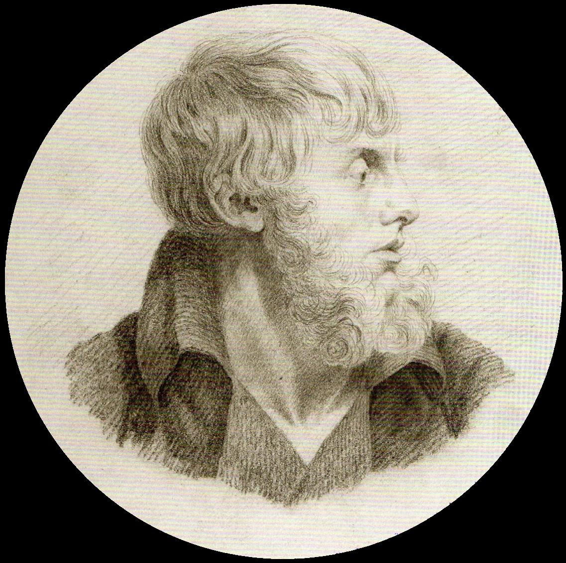 Caspar David Friedrich, Autoritratto | Selbstbildnis | Self portrait, 1805 - 1809, Gesso nero su carta, cm. 22,6 x 18, Städtische Galerie Dresden, inv. n.1977/k391