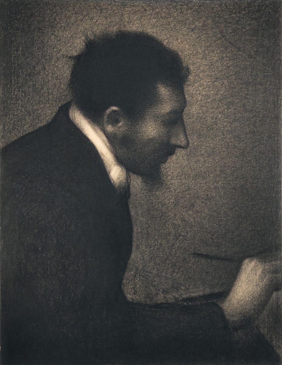 Georges Seurat (1859–1891), Aman-Jean | Portrait of Edmond François Aman-Jean, XIX secolo, 1882-83, Disegno, Matita Conté su carta Michallet,  62,2 x 47,5 cm, Lascito di Stephen C. Clark, 1960, New York, Metropolitan Museum of Art