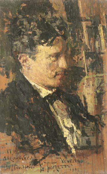 Giacomo Favretto, Autoritratto con dedica