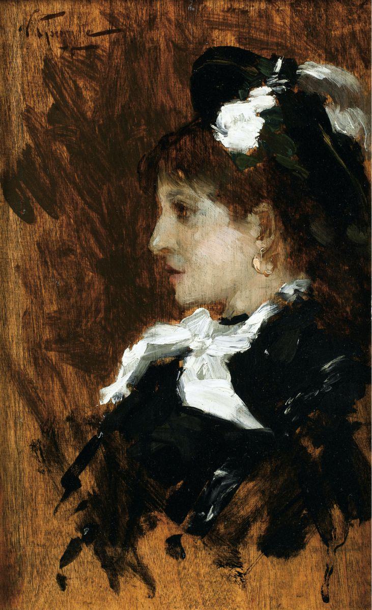 Norbert Goeneutte (1854-1894), Ritratto presunto di Eva Gonzalès di profilo, Olio su tavola, cm. 23 x 14, Collezione privata