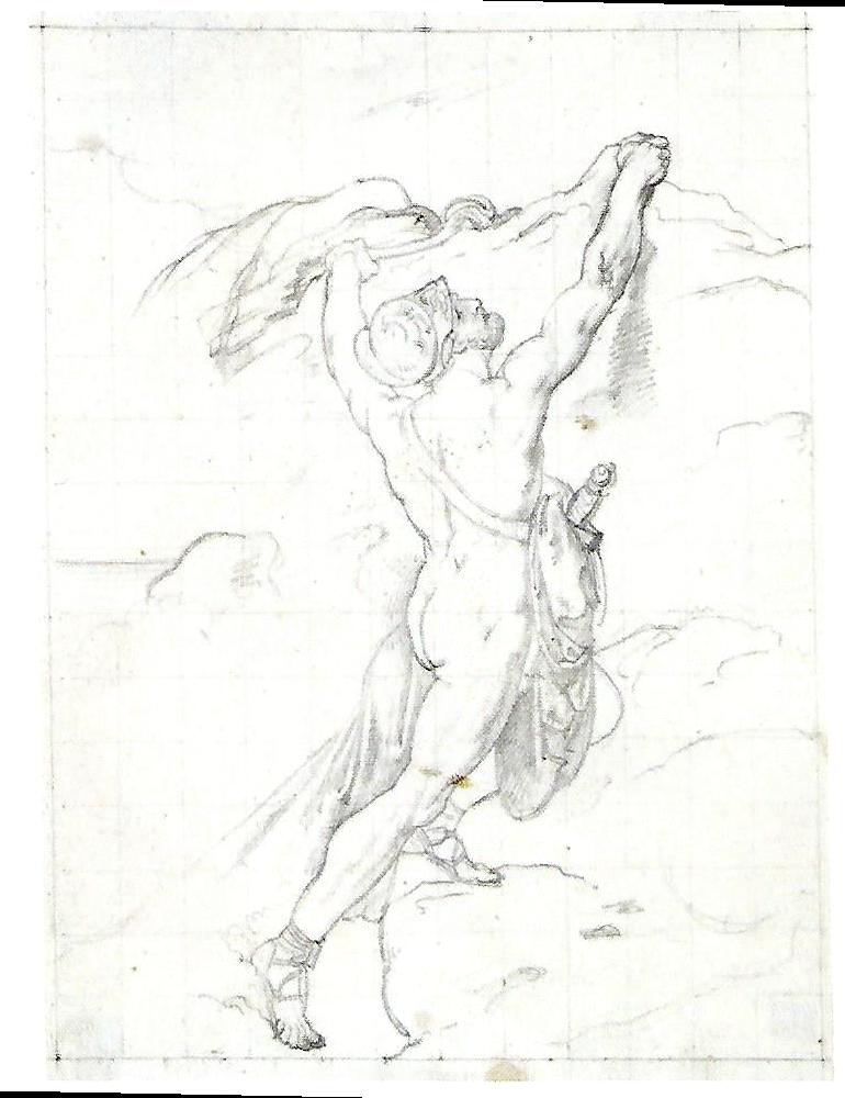 Francesco Hayez, Aiace d'Oileo, 1822 circa, Disegno, Matita su carta, Milano, Civiche Raccolte d'Arte, Gabinetto dei disegni del Castello Sforzesco