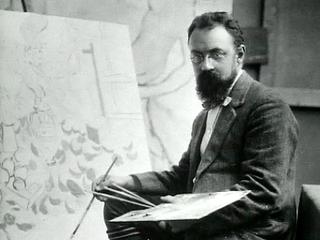 Foto di Henri Matisse al cavalletto