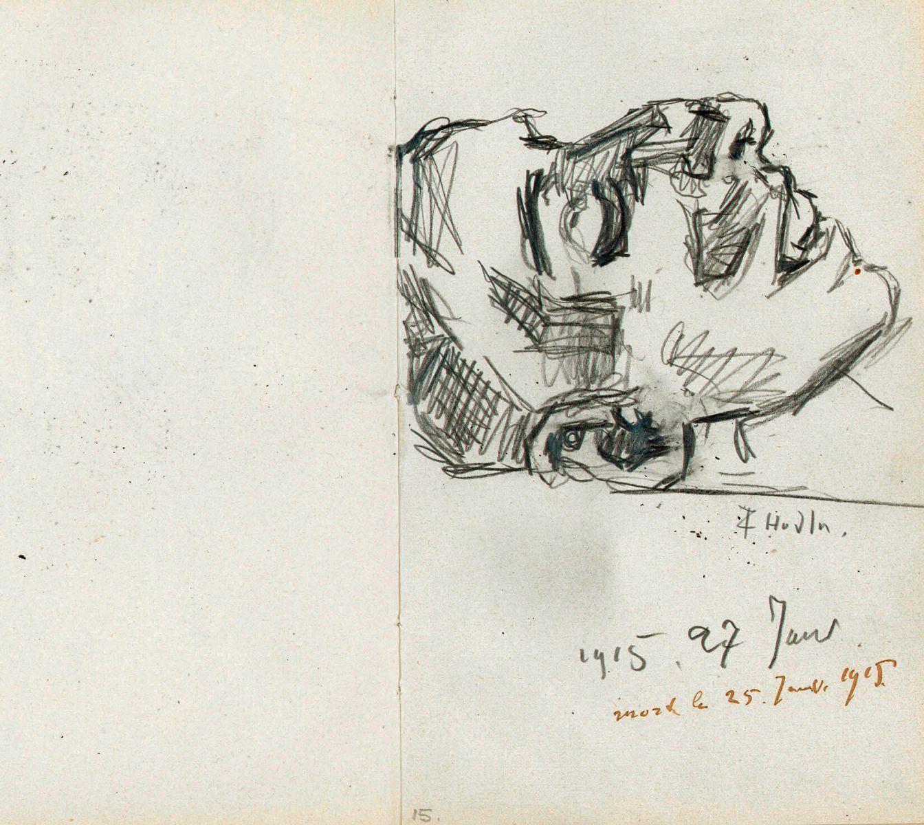 Ferdinand Hodler, Die tote Valentine Godé-Darel | Valentine Godé-Darel morta, 26 gennaio 1915, Disegno, Matita su carta, Carnet inv. 1958-176/214.10, Cabinet d'arts graphiques du Musée d'art et d'histoire, Genève