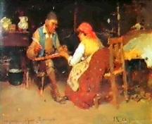 Luigi Nono, la lettera al moroso, 1886, olio su tavola, cm. 18 x 27, Collezione privata