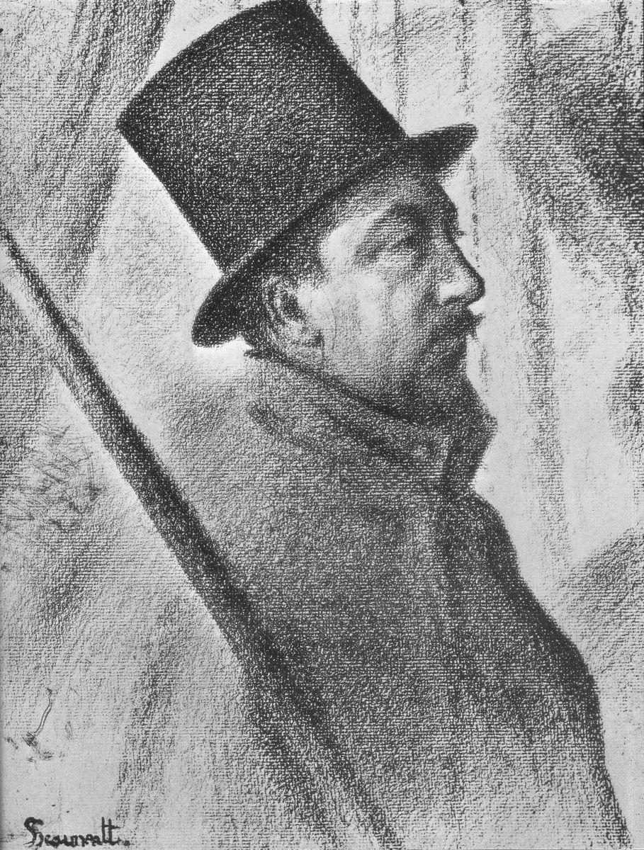George Seurat, Ritratto di Paul Signac, 1890, disegno, matita Conté su carta, Collezione privata