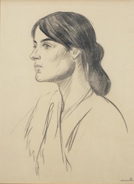 Théophile Alexandre Steinlen, Portrait de Suzanne Valadon [Ritratto di Suzanne Valadon], 1895, disegno a matita grassa su carta beige, cm. 62 x 46, Vernon, Musée Alphonse-Georges Poulain