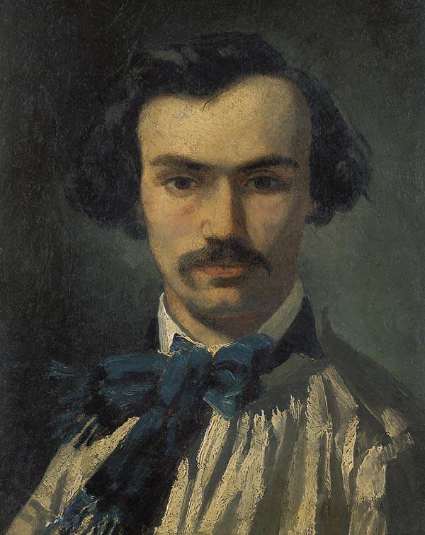 Victor Galos (attribuito a), Ritratto di Narcisse Diaz de la Peña   Portrait de Narcisse Diaz, Olio su cartone, cm. 34 x 26, Pau, Musée des Beaux-Arts, acquisto del comune di Pau, 1939, inv. n. 39.4.1.