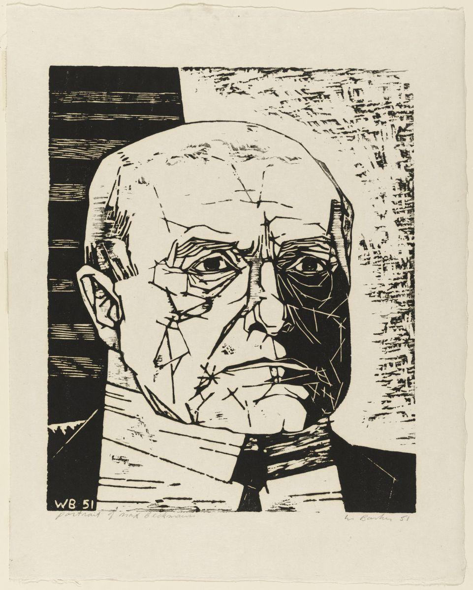 Walter William Barker, Portrait of Max Beckmann, 1951, Stampa, Xilografia su carta, cm. 39,5 x 32,9 (immagine), cm. 51 x 40,5 (foglio)