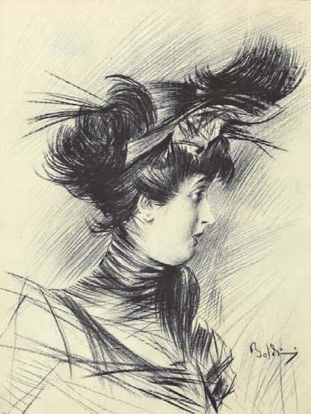 Profilo di donna con cappellino   arte