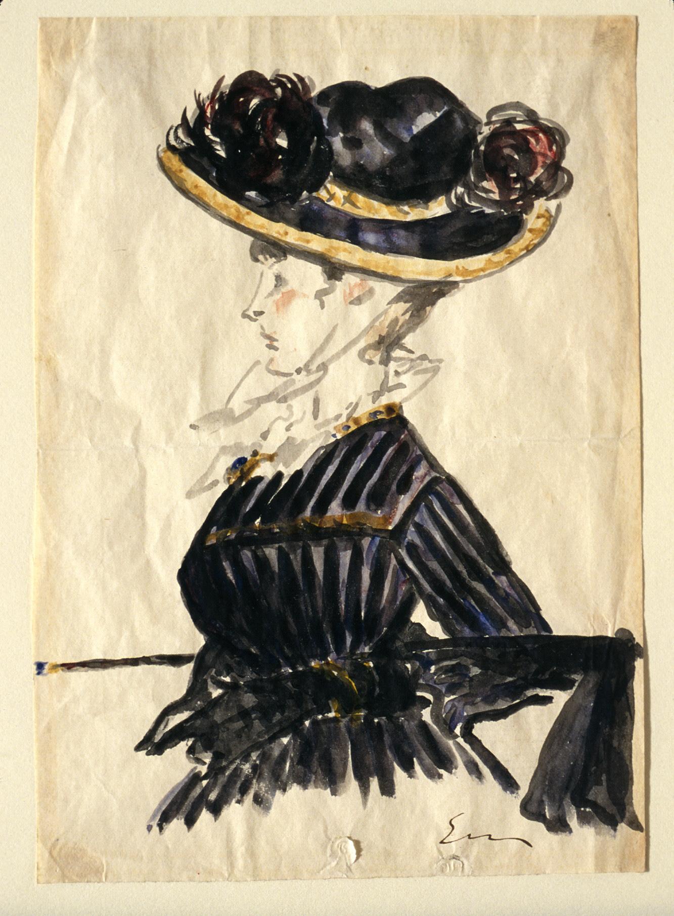 Donna con un grande cappello   arte