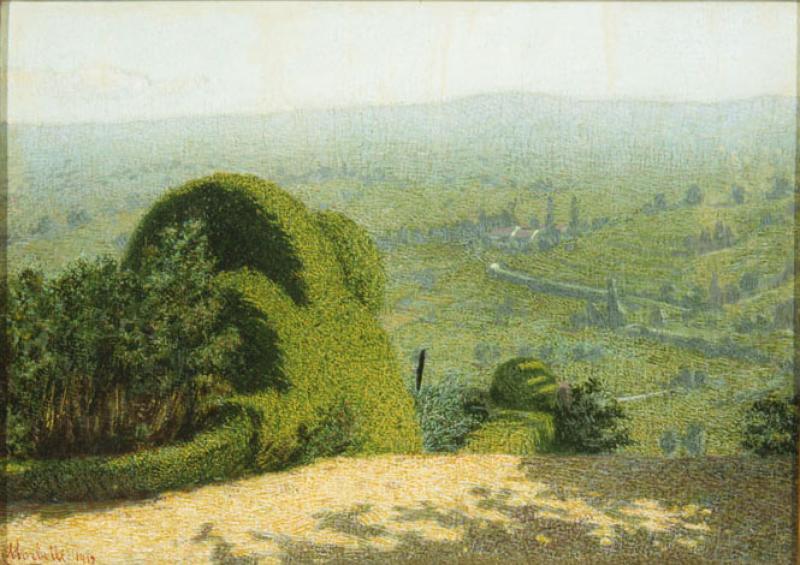 Angolo di giardino con sfondo di paesaggio arte for Angolo giardino