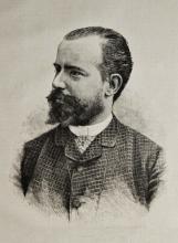 Ambrogio Centenari, Il pittore Giacomo Favretto [incisione da una foto di Contarini]