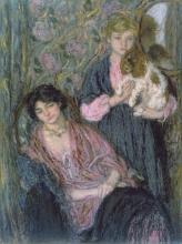 Edmond Aman-Jean, Due donne con uno spaniel | Deux femmes avec un épagneul | Two women with a spaniel, Collezione privata