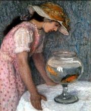 Edmond Aman-Jean, Giovane donna con i pesci rossi | Jeune femme aux poissons rouges | Young woman with goldfish,  1910, Collezione privata