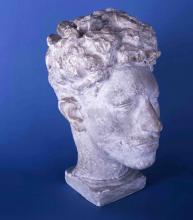 Cuno Amiet, Testa di Alberto Giacometti   Kopf Alberto Giacometti, 1920, Scultura, Gesso, 36 cm di altezza, Bündner Kunstmuseum   Museo d'Arte dei Grigioni, Chur/Coira, Schweiz/Svizzera, Acquisto, 1987, inv. n. 6197.000.1987