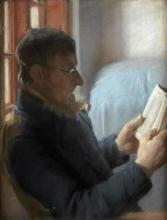 Anna Ancher, Un uomo anziano che legge (Læsende gammel mand), 1885 circa