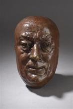 Zacharie Astruc, Masque de Théodore de Banville | Maschera di Theodore de Banville, XIX secolo, 1883 circa, Scultura in bronzo patinato, cm. H. 23 x L. 14 x P. 0,09