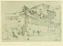 Odoardo  Borrani, Avanzi delle Terme Diocleziane, 1883, disegno dal terzo taccuino, Firenze, Raccolta Mario Galli