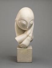 Brancusi, Mademoiselle Pogany [I], 1912, Marmo bianco e blocco di calcare, cm. 44,4 x 21 x 31,4,  cm. 15,2 x 16,2 x 17,8 (base), Philadelphia Museum of Art, inv. n. 1933-24-1, dono di Mrs. Rodolphe Meyer de Schauensee, 1933