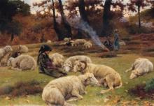 Stefano Bruzzi, Cadon le foglie, 1893, Dipinto