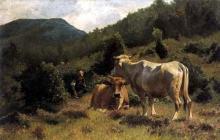 Stefano Bruzzi, Contadinella con mucche al pascolo sull'Appennino, XIX-XX secolo, Dipinto, Olio su tela. Collezione privata