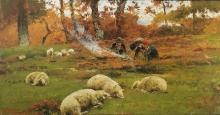 Stefano Bruzzi, Davanti al fuoco, XIX-XX secolo, Dipinto, Olio su tela