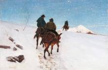 Stefano Bruzzi, Mulattieri dell'Appennino, 1875-1880, Dipinto, Olio su tela