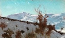 Stefano Bruzzi, Neve sulle colline, XIX secolo, Dipinto