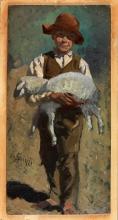 Stefano Bruzzi, Pastorello, XIX secolo, 1880 circa, Dipinto, cm. 24 x 12