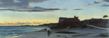 Stefano Bruzzi, Pescatore sulla spiaggia di Anzio, XIX secolo, 1856-1858, Dipinto, Collezione privata