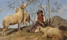 Stefano Bruzzi, Tre ore al pascolo [dettaglio], XIX-XX secolo, Dipinto ad olio, Camera dei Deputati, Roma, Italia