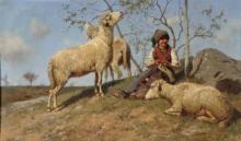 Stefano Bruzzi, Tre ore al pascolo, XIX-XX secolo, Dipinto ad olio, Camera dei Deputati, Roma, Italia