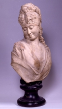 Adriano Cecioni, Busto di giovane donna, XIX secolo, 1876-1878, terracotta, cm. 51 di altezza, Firenze, Palazzo Pitti, Galleria d'Arte Moderna, Codice ICCD 09 00342200