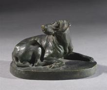 Adriano Cecioni, Cane che guarda il padrone, 1880, terracotta patinata, 11,5 x 19 x 11,5 cm, Collezione privata