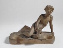 Adriano Cecioni, Portafiammiferi, XIX secolo, terracotta, 19 x 14 x 15 cm., Collezione privata