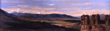 Giovanni (Nino) Costa, Ruderi nella campagna romana, XIX secolo, Olio su carta su tela, Firenze, Galleria d'Arte Moderna, Comodato Gagliardini