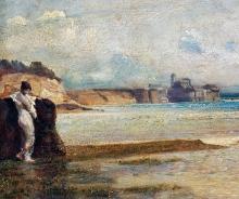 Giovanni (Nino) Costa, Tramonto della luna sul mar Tirreno, XIX secolo [dettaglio].jpg