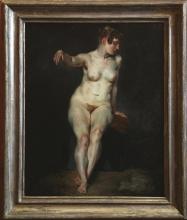 Eugène Delacroix (Charenton-Saint-Maurice, Parigi 1798 - Parigi 1863): Sitzender weiblicher Akt. Mademoiselle Rose (Nudo femminile seduto. Mademoiselle Rose), 1820-1821 circa, Olio su tela, cm. 81,5 x 65,1, Berlino, Nationalgalerie