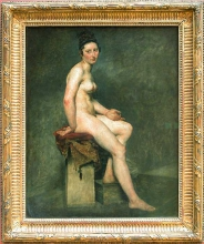 Eugène Delacroix (Charenton-Saint-Maurice, Parigi 1798 - Parigi 1863): Nu assis. Mademoiselle Rose (Nudo seduto. Mademoiselle Rose), 1820-1823 circa, Olio su tela, cm. 81 x 65, Parigi, Musée du Louvre