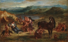 Eugène Delacroix (Charenton-Saint-Maurice, Parigi 1798 - Parigi 1863): Ovide chez les Scythes (Ovidio tra gli Sciti), 1862, Olio su carta posata su legno, cm. 32,1 x 50,2, New York, Metropolitan Museum of Art