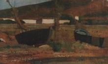 Giovanni Fattori, Barche a secco, dipinto, coll. priv.